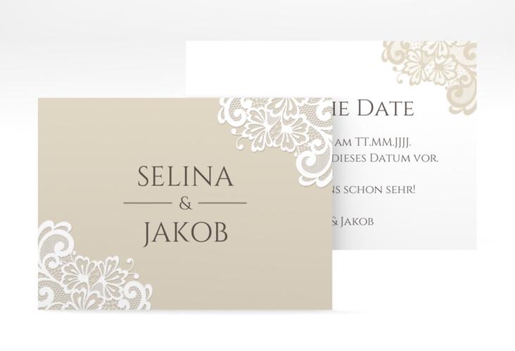 "Save the Date-Visitenkarte ""Vintage"" Visitenkarte beige"