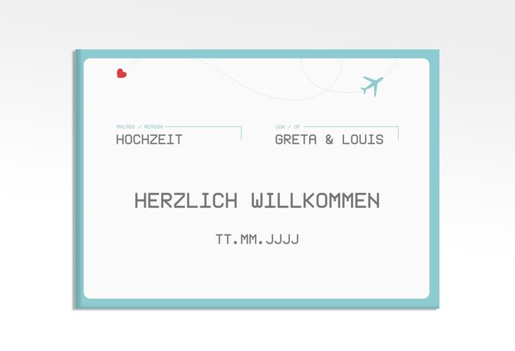 "Willkommensschild Leinwand ""Weddingpass"" 70 x 50 cm Leinwand blau"