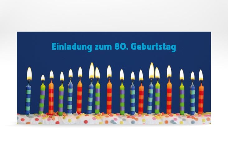"Einladungskarte ""Candles"" DIN lang blau"