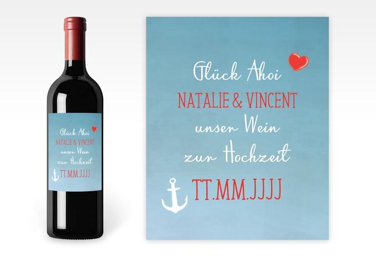 """Weinetikett Hochzeit """"Ehehafen"""" Etikett Weinflasche 4er Set blau"""