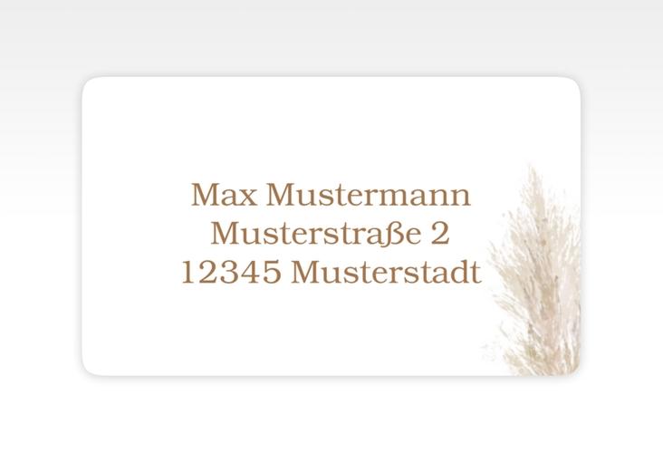"""Empfängeretikett Hochzeit """"Pampasgras"""" 63,5 x 38,1 mm weiss"""