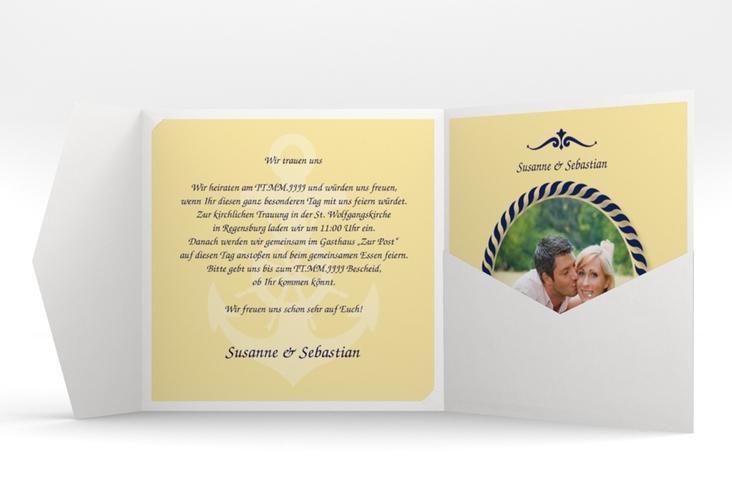 """Hochzeitseinladung """"Sylt"""" Pocketfold gelb"""