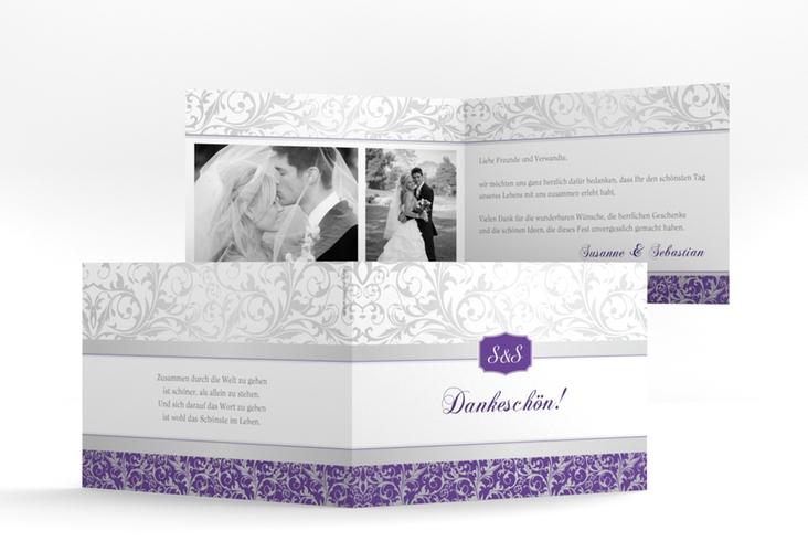 """Danksagungskarte Hochzeit """"Latina"""" A6 Klappkarte Quer lila"""