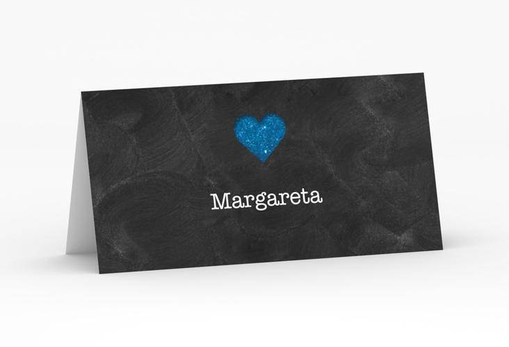 """Tischkarte Hochzeit """"Sparkly"""" Tischkarten blau"""