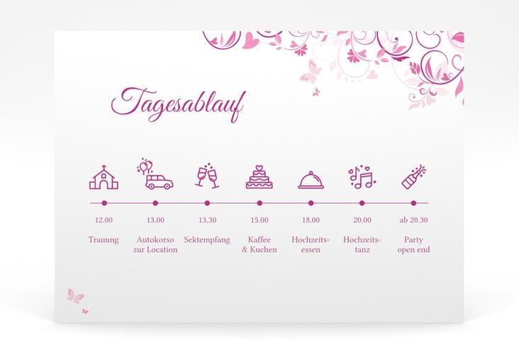 """Tagesablauf Poster Hochzeit """"Lilly"""" 70 x 50 cm Poster pink"""