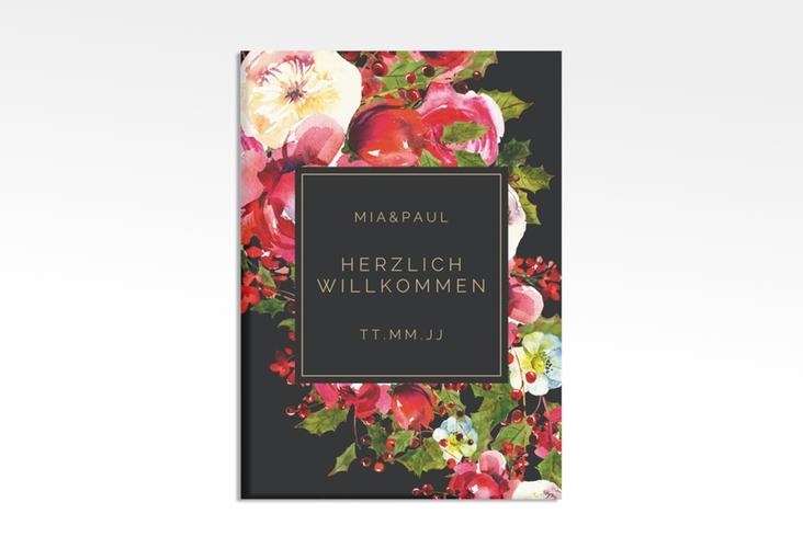 """Willkommensschild Hochzeit """"Blumenpracht"""" 50 x 70 cm Leinwand schwarz"""