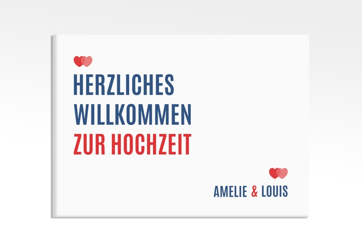 """Willkommensschild Hochzeit """"Couple"""" 70 x 50 cm Leinwand rot"""