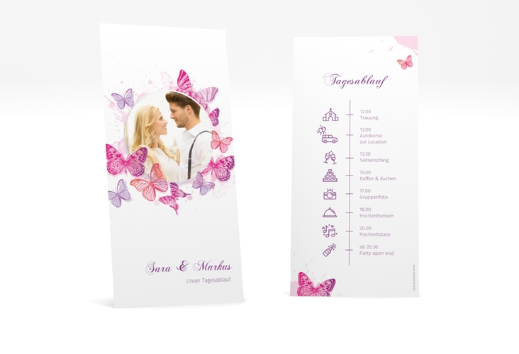"""Tagesablauf Hochzeit """"Schmetterlinge"""" DIN lang hoch"""