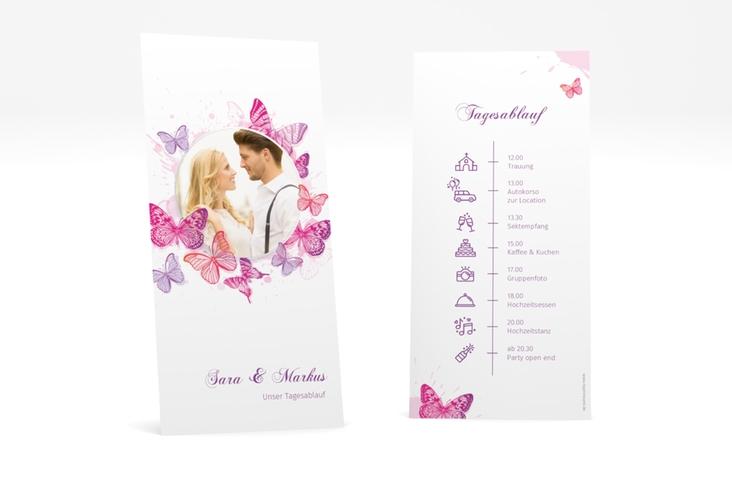 """Tagesablauf Hochzeit """"Schmetterlinge"""" DIN lang hoch pink"""