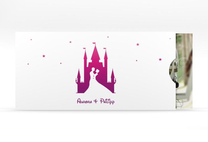 """Hochzeitseinladung """"Castle"""" Einsteckkarte pink"""