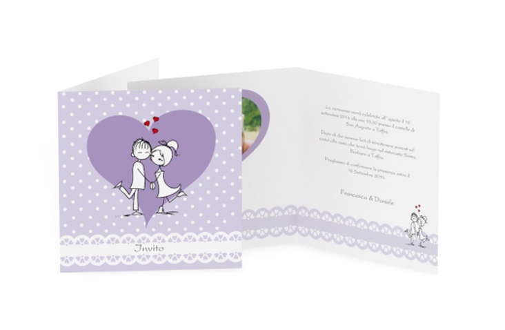 Inviti matrimonio collezione Berlino Quadratische Klappkarte lila