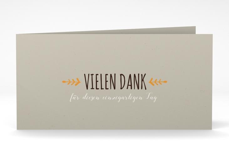 """Danksagung Hochzeit """"Eden"""" DIN lang Klappkarte orange"""