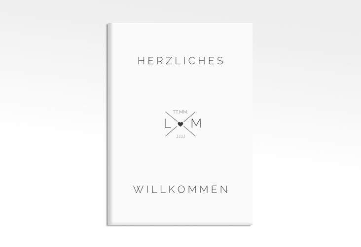 """Willkommensschild Hochzeit """"Initials"""" 50 x 70 cm Leinwand schwarz"""