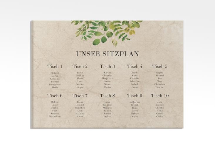 "Sitzplan Leinwand Hochzeit ""Botany"" 70 x 50 cm Leinwand beige"