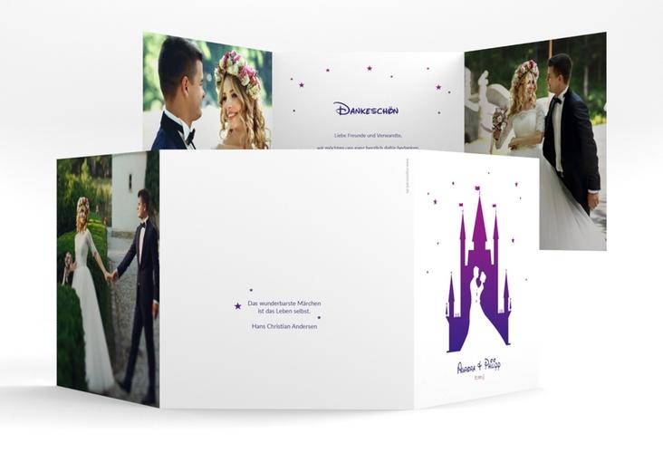 """Dankeskarte Hochzeit """"Castle"""" Quadr. Karte doppelt lila"""