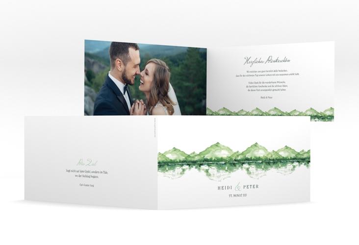 """Danksagungskarte Hochzeit """"Bergliebe"""" DIN lang Klappkarte gruen"""