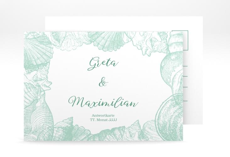 """Antwortkarte Hochzeit """"Muschelreich"""" A6 Postkarte mint"""