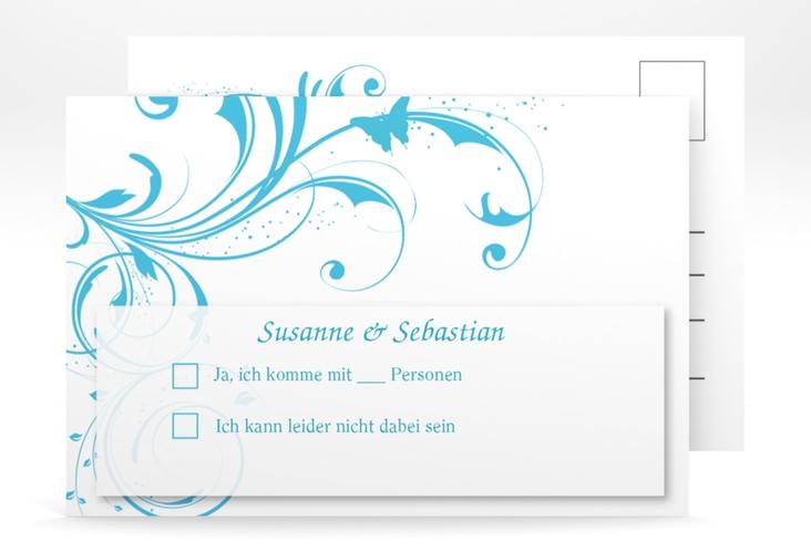 """Antwortkarte Hochzeit """"Palma"""" A6 Postkarte tuerkis"""