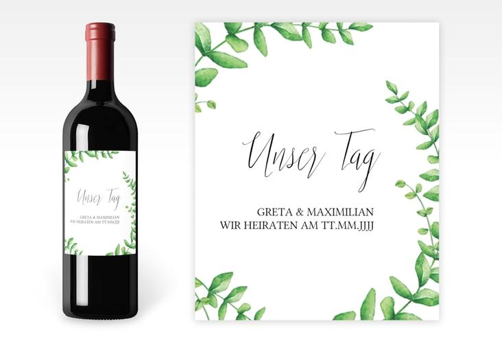 """Weinflaschenetikett Hochzeit """"Botanic"""" Etikett Weinflasche 4er Set"""
