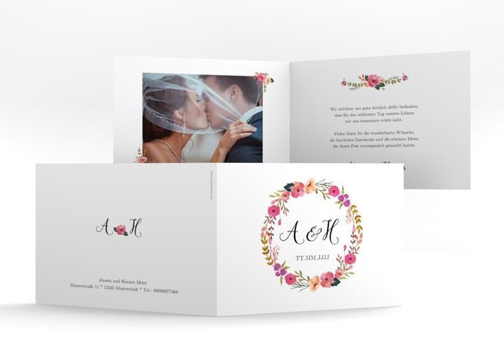 """Danksagungskarte Hochzeit """"Fiore"""" A6 Klappkarte Quer weiss"""