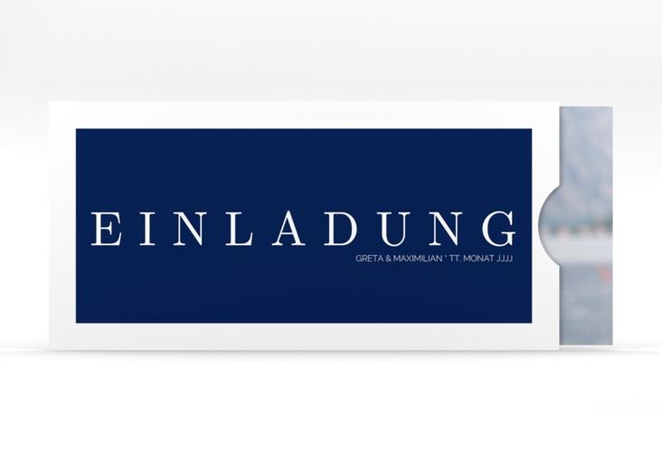 """Hochzeitseinladung """"Simply"""" Einsteckkarte blau"""
