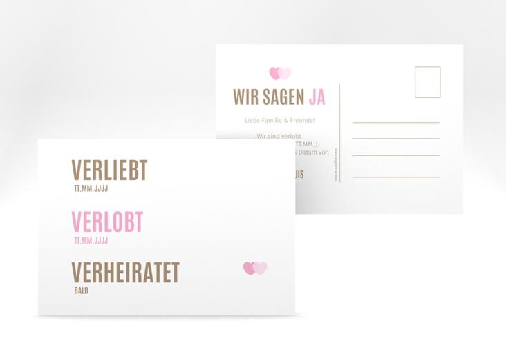 """Verlobungskarte Hochzeit """"Couple"""" A6 Postkarte rosa"""