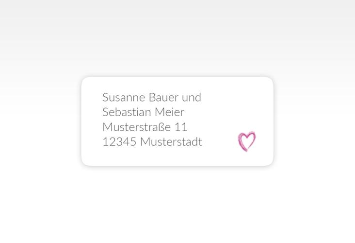 """Absenderetikett Hochzeit """"Liebe"""" 45,7 x 21,2 mm pink"""