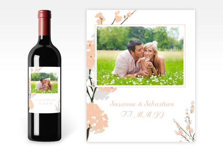 """Weinflaschenetikett Hochzeit """"Salerno"""" Etikett Weinflasche 4er Set apricot"""