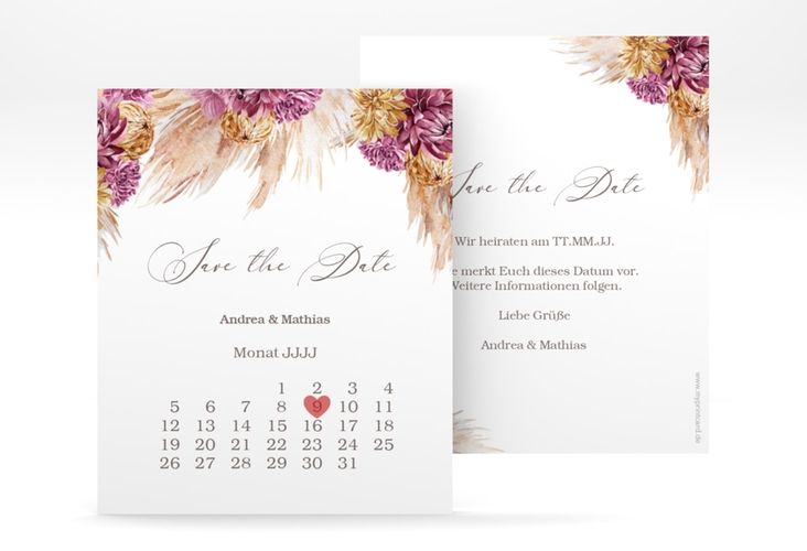 "Save the Date-Kalenderblatt ""Pampas"" Kalenderblatt-Karte"