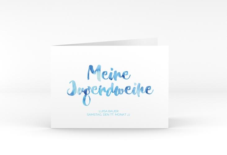 """Einladungskarte Jugendweihe """"Multicolored"""" A6 Klappkarte Quer blau"""