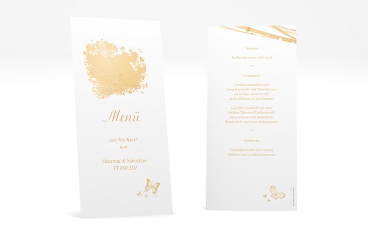 """Menükarte Hochzeit """"Mailand"""" DIN lang hoch beige"""