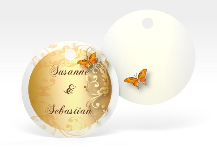 """Geschenkanhänger Hochzeit """"Toulouse"""" Geschenkanhänger, rund orange"""