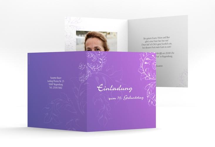 "Einladungskarte ""Peter/Petra"" Quadratische Klappkarte lila"