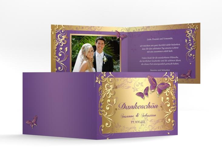 """Danksagungskarte Hochzeit """"Toulouse"""" A6 Klappkarte Quer lila"""