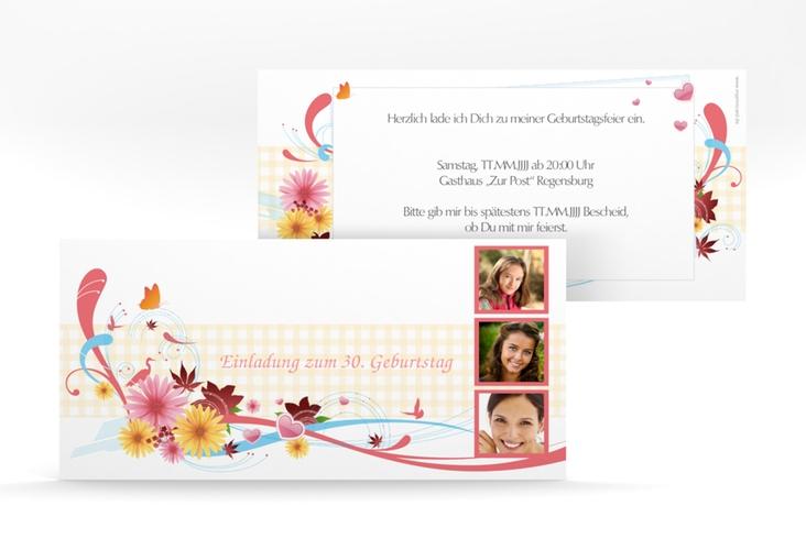 "Einladungskarte ""Elisabeth"" DIN lang rosa"