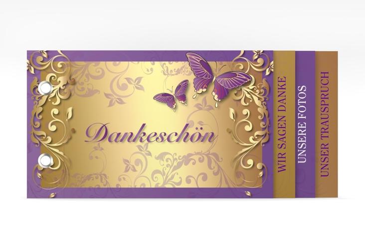 "Danksagungskarte Hochzeit ""Toulouse"" Booklet lila"