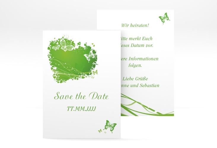 "Save the Date-Visitenkarte ""Mailand"" Visitenkarte gruen"