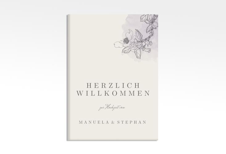 """Willkommensschild Hochzeit """"Artlover"""" 50 x 70 cm Leinwand flieder"""
