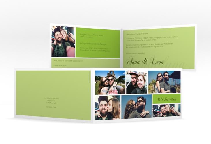 """Hochzeitseinladung """"Collage"""" DIN lang Klappkarte gruen"""