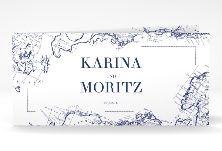 """Danksagungskarte Hochzeit """"Voyage"""" DIN lang Klappkarte blau"""