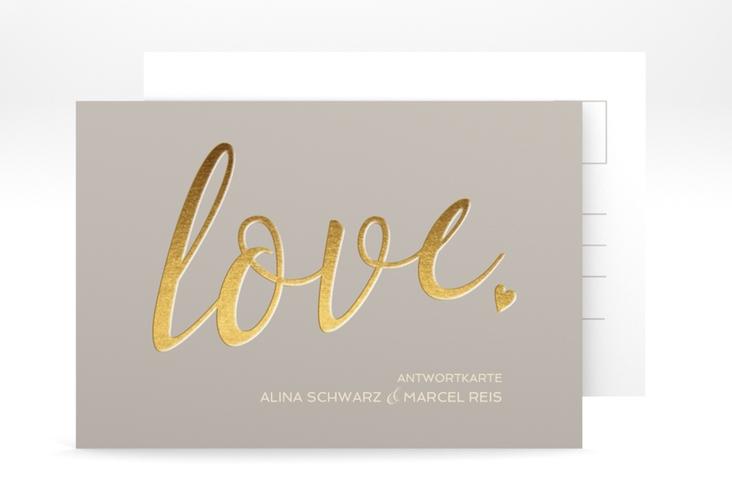 "Antwortkarte Hochzeit ""Glam"" A6 Postkarte grau"