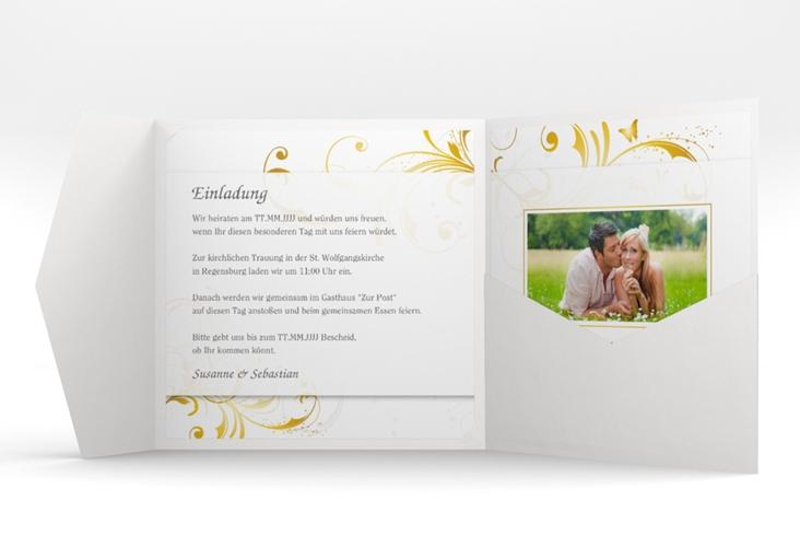 """Hochzeitseinladung """"Palma"""" Pocketfold gold"""