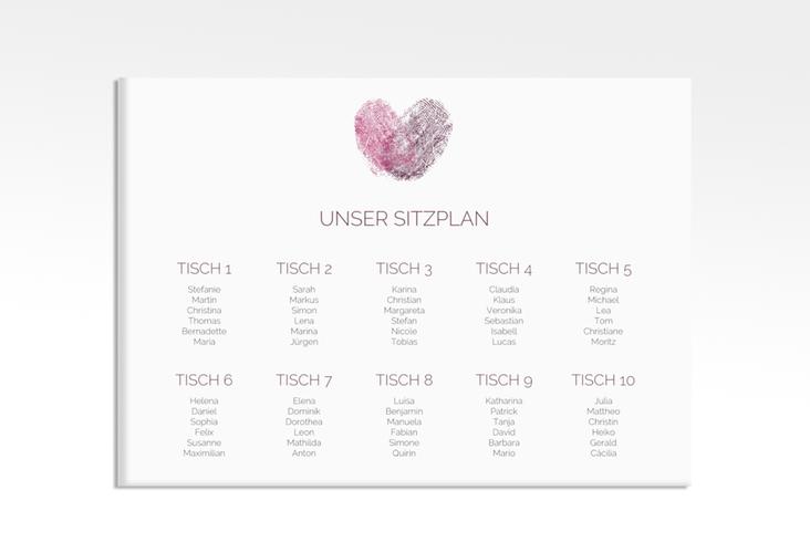 "Sitzplan Leinwand Hochzeit ""Fingerprint"" 70 x 50 cm Leinwand pink"