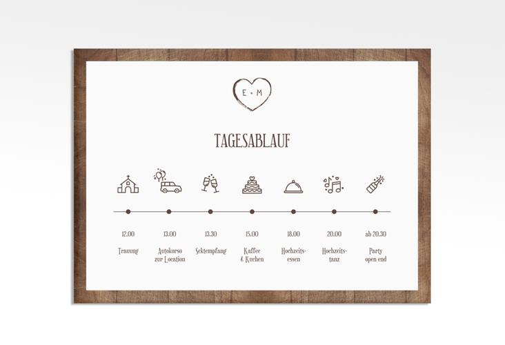 "Tagesablauf Leinwand Hochzeit ""Wood"" 70 x 50 cm Leinwand"