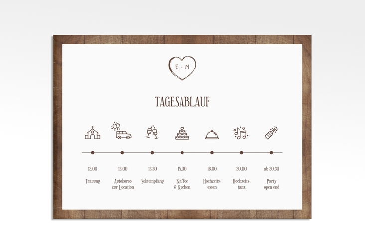"Tagesablauf Leinwand Hochzeit ""Wood"" 70 x 50 cm Leinwand braun"
