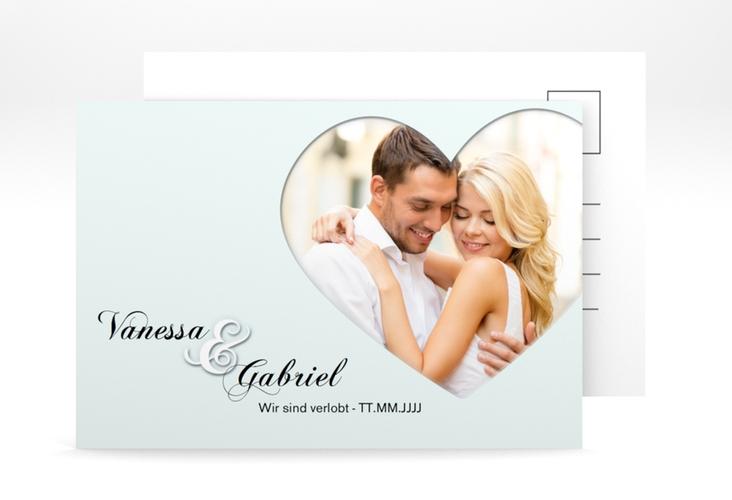 """Verlobungskarte Hochzeit """"Sweetheart"""" A6 Postkarte tuerkis"""