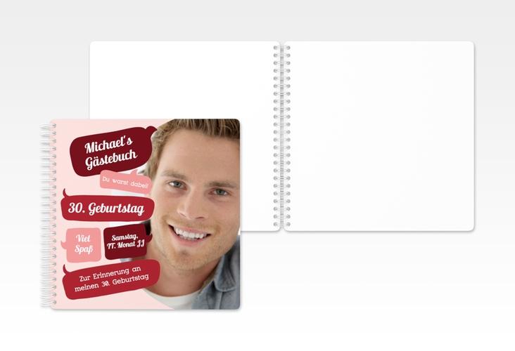 """Gästebuch Geburtstag """"Whatsup"""" Ringbindung rot"""