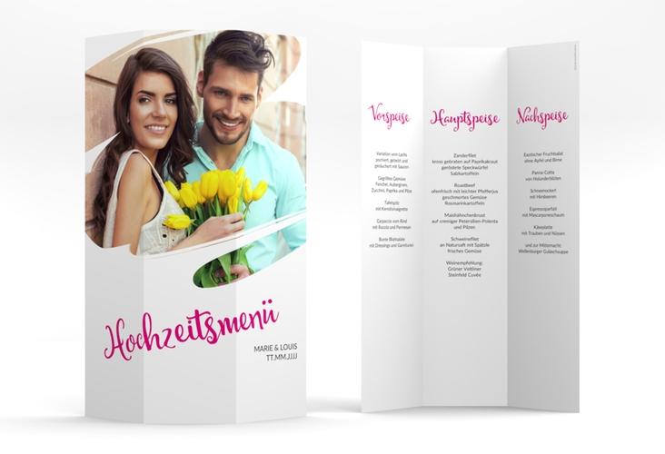 """Menükarte Hochzeit """"Felice"""" DIN A4 Wickelfalz pink"""