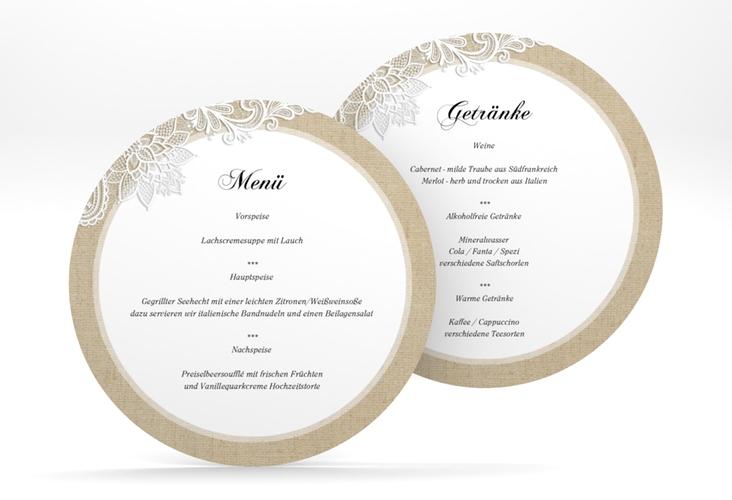 """Menükarte Hochzeit """"Lace"""" rund beige"""