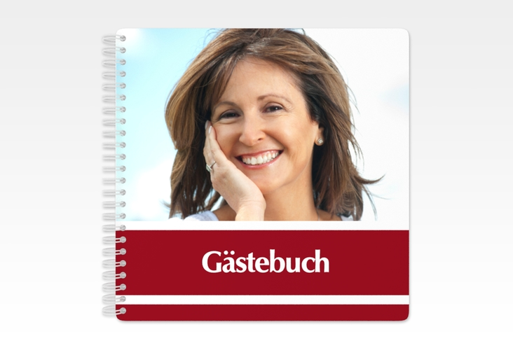 "Gästebuch Geburtstag ""Gerd/Gerda"" Ringbindung rot"